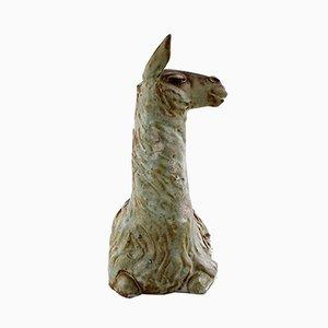 Grande Sculpture de Lama en Grès Verni par Lea von Mickwitz pour Arabia, 1940s
