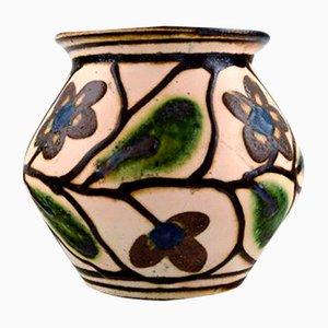Glasierte Vintage Steingutvase von Kähler