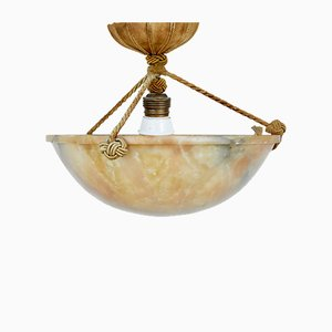 Small Art Deco Alabaster Ceiling Lamp, 1920s