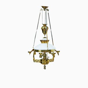19th-Century Arts & Crafts Brass Oil Ceiling Lamp