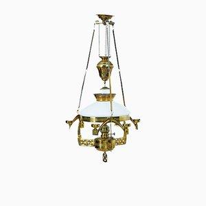 Lámpara de techo Arts & Crafts de aceite de latón, siglo XIX