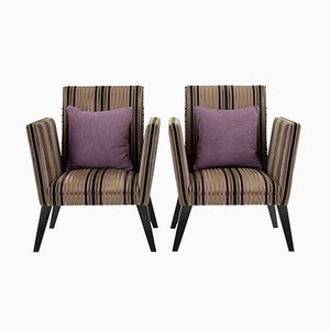 Antique Upholstered Lounge Armchairs, Set of 2
