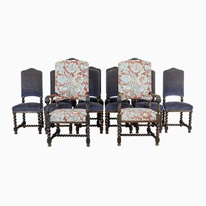 19th-Century Baroque Style Carved Oak Dining Chairs, 1890s, Set of 12