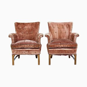 Mid-Century Mahogany Armchairs, 1940s, Set of 2