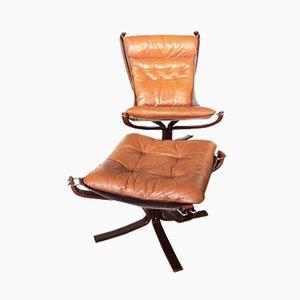 Sessel mit Fußhocker von Sigurd Ressell für Vatne Møbler, 1970er