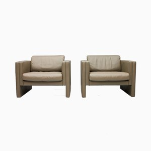 Light Brown Leather Lounge Chairs from Walter Knoll, 1970s, Set of 2