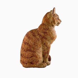 Scultura Cat in ceramica di Gudrun Lauesen per Royal Copenhagen, anni '70