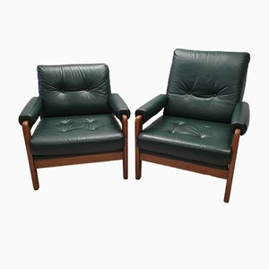Mid-Century Danish Oak and Green Leather Lounge Chairs, 1960s, Set of 2
