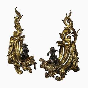 Chenets en Bronze Dore, France, 19ème Siècle, Set de 2