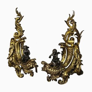 Französische Feuerböcke aus vergoldeter Bronze, 19. Jh., 2er Set