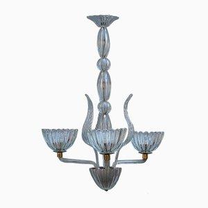 Lámpara de araña Mid-Century redonda de latón y cristal de Murano, años 50