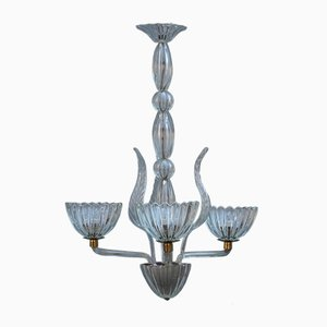 Round Mid-Century Murano Glass and Brass Chandelier, 1950s