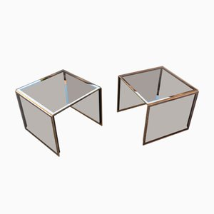 Mesas de centro apilables de espejo y latón dorado de Zevi, años 70. Juego de 2