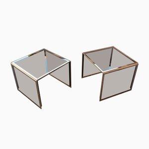 Stapelbare Couchtische aus Spiegelglas und Vergoldetem Messing von Zevi, 1970er, 2er Set