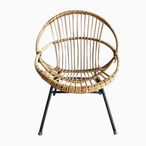 Rattan Shell Side Chair, 1950s