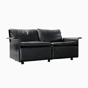 Vintage 620 Black Leather Modular 2-Seater Sofa by Dieter Rams for Vitsœ