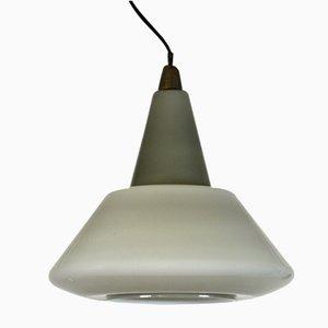 Industrielle italienische Deckenlampe aus Glas, 1940er
