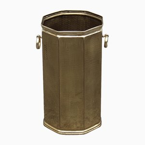 Octagonal Golden Brass Umbrella Stand, 1970s