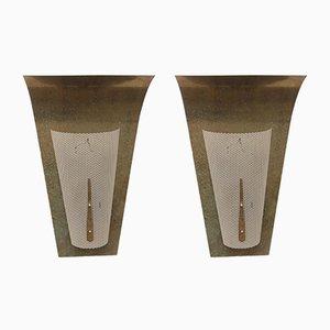 Skulpturale Wandlampen aus perforiertem Metall, 1950er, 2er Set