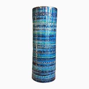 Vase Vintage Bleu Rimini par Aldo Londi pour Bitossi