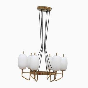 Lámpara de araña Mid-Century redonda de Stilnovo, años 50