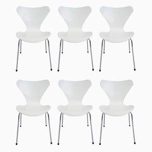 Modell 3107 Beistellstühle von Arne Jacobsen für Fritz Hansen, 1950er, 6er Set