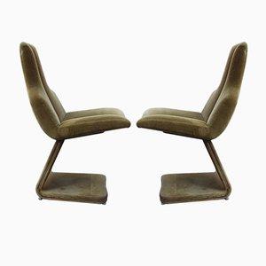 Chaises d'Appoint en Velours Vert, 1970s, Set de 2