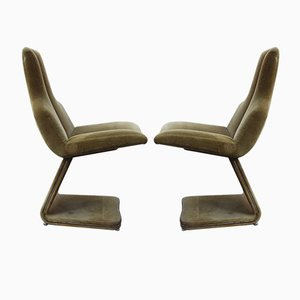 Green Velvet Side Chairs, 1970s, Set of 2