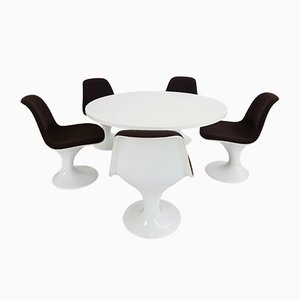Mesa de comedor hongo era espacial con cinco sillas, años 60