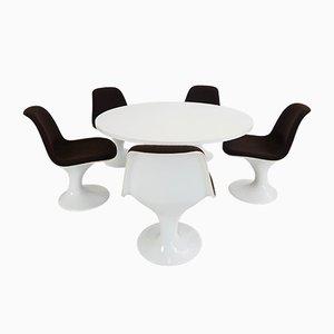 Tavolo da pranzo Space Age con cinque sedie, anni '60