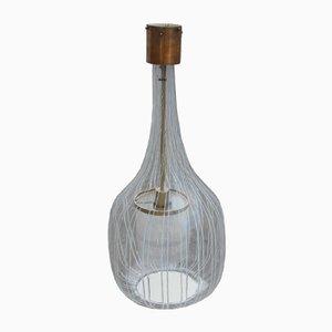 Lámpara de araña de latón dorado y vidrio blanco de Angelo Brotto, años 60