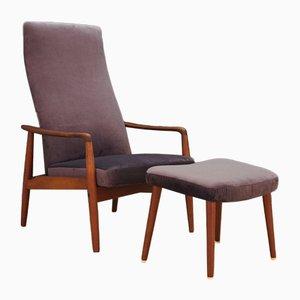 Juego de sillón y otomana danes Mid-Century de teca de Søren Ladefoged para SL Mobler, años 70