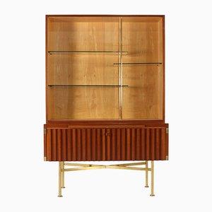 Barschrank aus Holz & Messing von Behr, 1950er