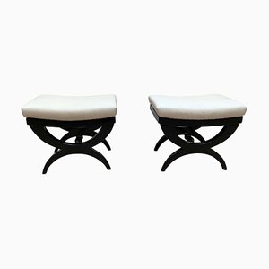 Art Deco Style French Black Lacquered Stools, 1940s, Set of 2