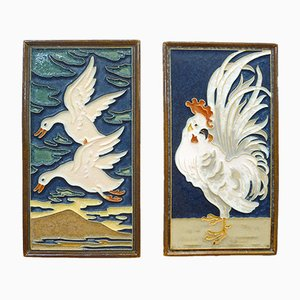 Ceramic Wall Panels by L.E.F. Boddart for Koninklijke Porceleyne Fles, 1930s, Set of 2