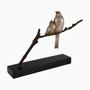 Art Deco Birds on a Branch Sculpture by Andre Vincent Becquerel, 1930s