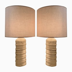 Vintage Golden Ceramic Table Lamp by Bitossi for Bergboms