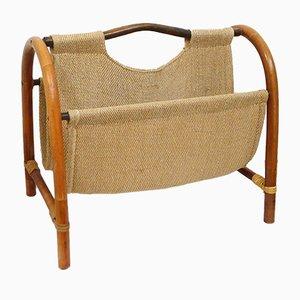 Mid-Century Bamboo & Textile Magazine Rack