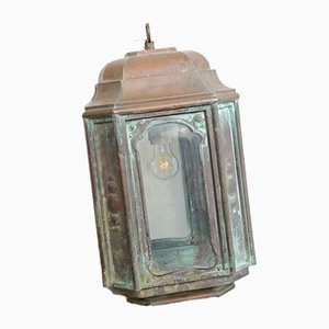 Lanterna Art Nouveau antica in rame, inizio XX secolo