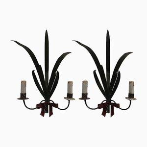 Lámparas de pared en forma de gavilla de trigo, años 50. Juego de 2