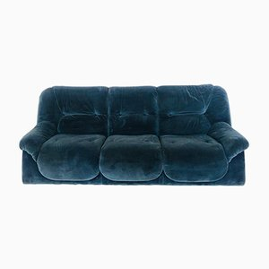 Blue Velvet 3-Seater Sofa, 1970s