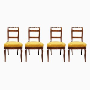 Antique Empire Style Italian Wooden Dining Chairs, Set of 4