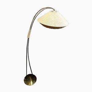 Deutsche Vintage Stehlampe aus Messing mit Leinenschirm, 1960er