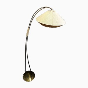 Vintage German Brass Floor Lamp with Linen Shade, 1960s