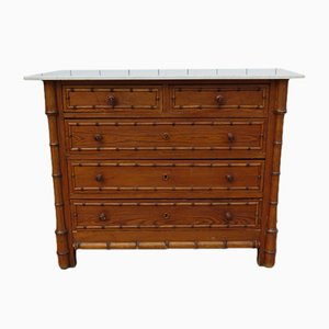 Antique Faux Bamboo and Marble Chest of Drawers