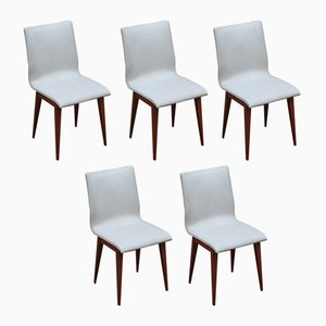 Vintage French White Faux Leather & Wood Side Chairs, 1950s, Set of 5