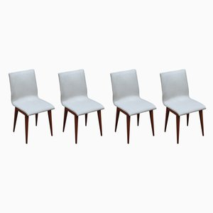 Vintage French White Faux Leather & Wood Side Chairs, 1950s, Set of 4