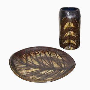 Mid-Century Modern Scandinavian Ceramic Vase and Tray from Upsala-Ekeby