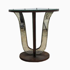 Table Basse Art Deco en Verre Miroite, 1920s