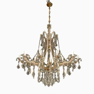 Large Italian Crystal Chandelier with 18 Lights, 1950s
